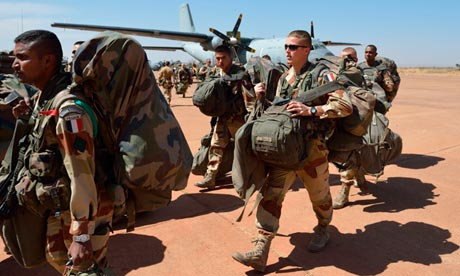 French troops invade Mali to protect natural resources.
