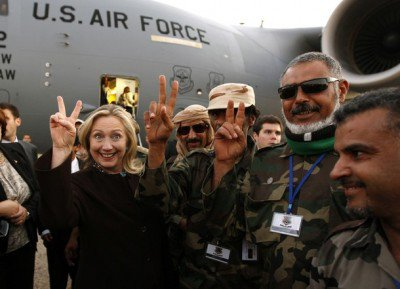 US Secretary of State Hillary Clinton with the so called 'Liban Rebels', now described as enemies of the world.